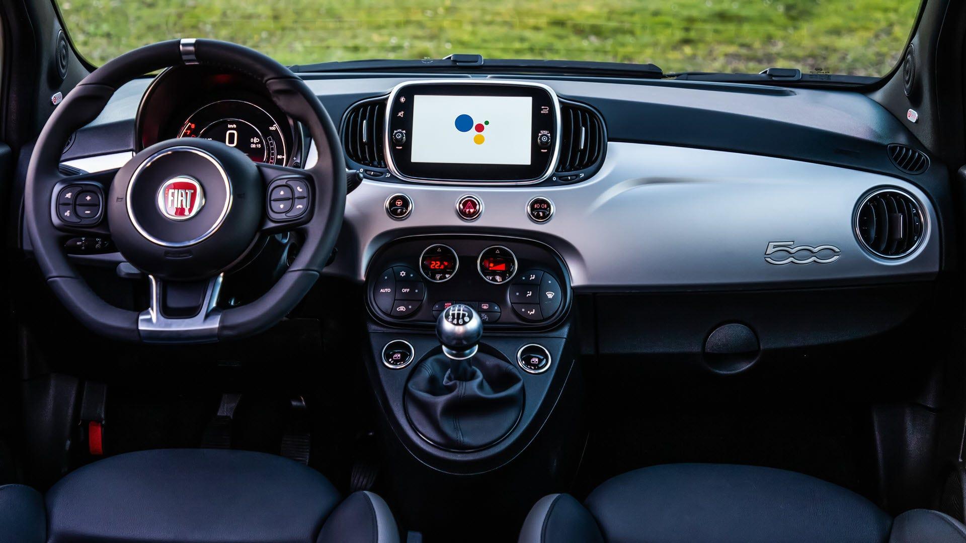 A Fiat center dash with a Google Assistant display