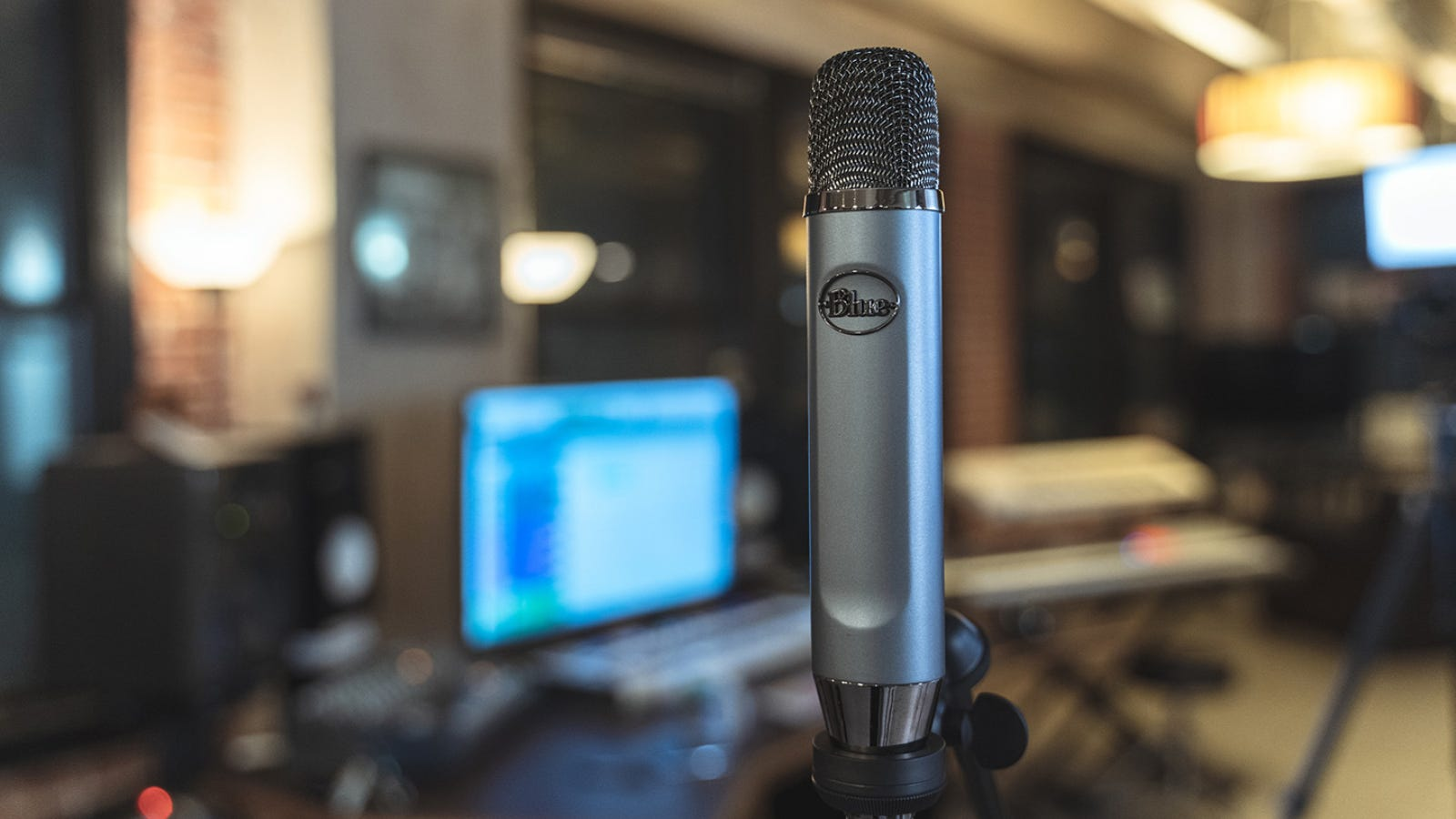 Blue Ember microphone against studio background