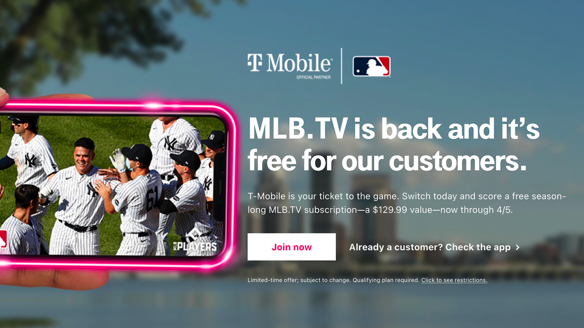 A screenshot of the T-Mobile MLB.TV landing page.