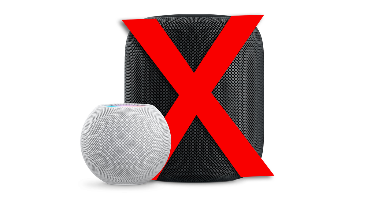 A photo of the HomePod with a large X over it.