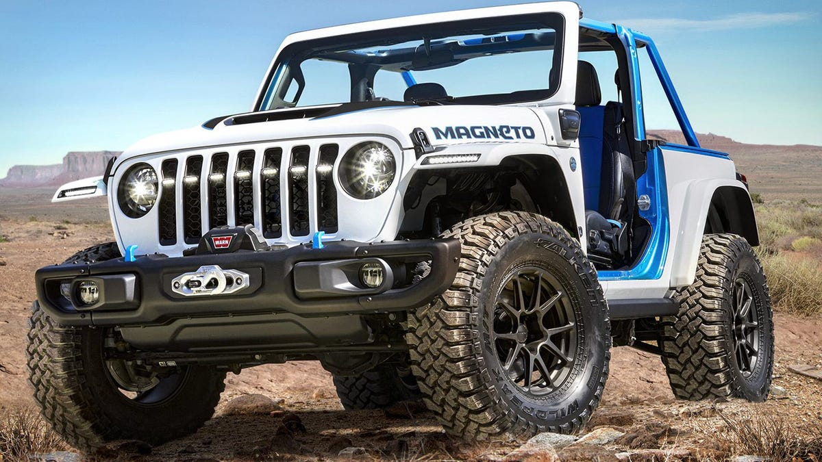 A White Jeep wrangler with an electric engine