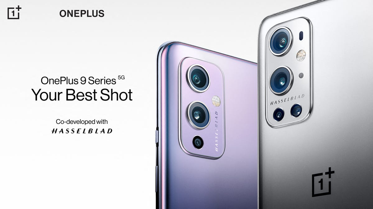 A OnePlus 9 Pro next to a OnePlus 9 Phone