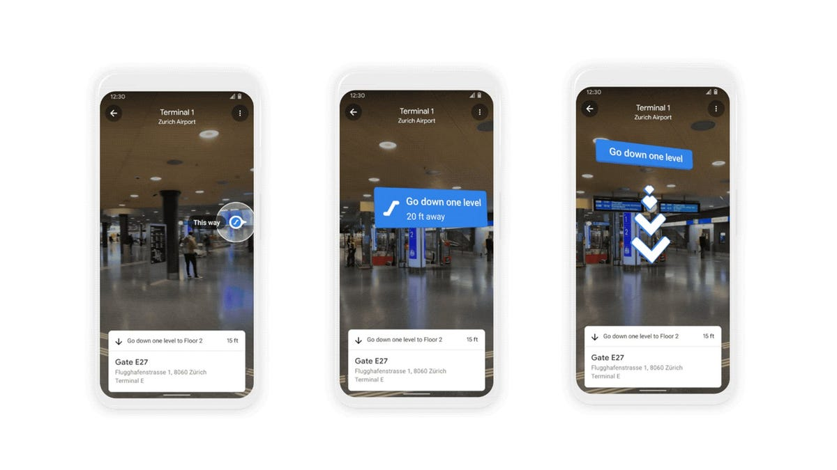 Three phones, showing augmented reality directions in an airport terminal.