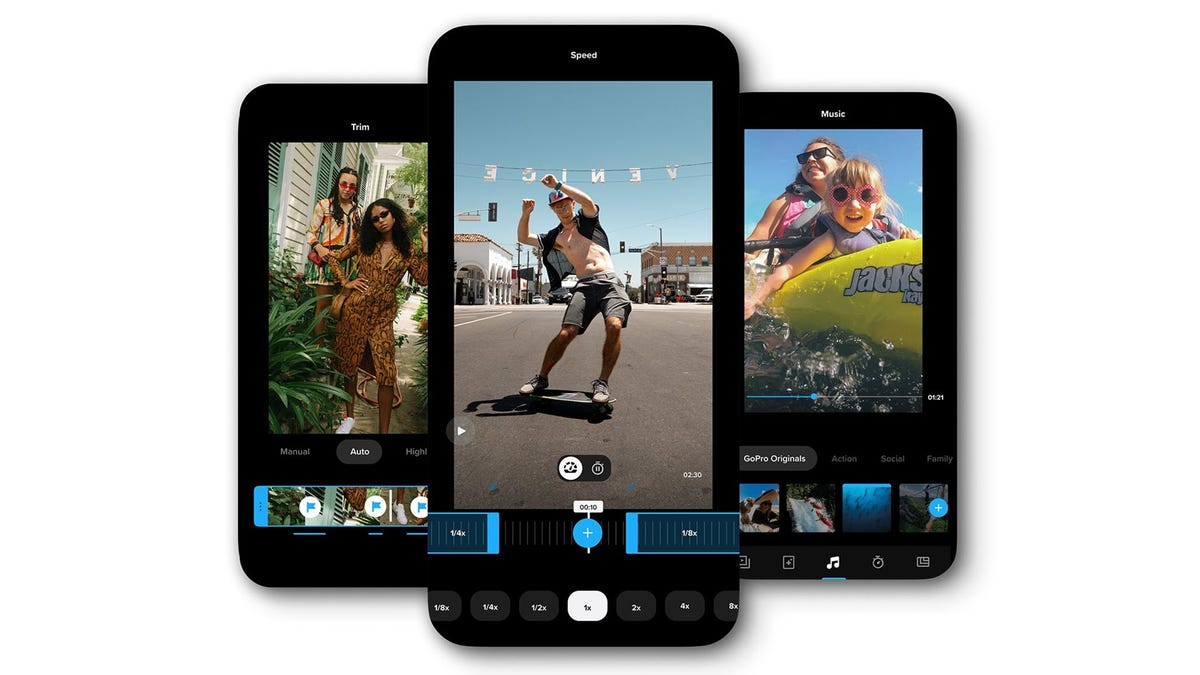 The GoPro Quick App on a phone, editing speed of a video.