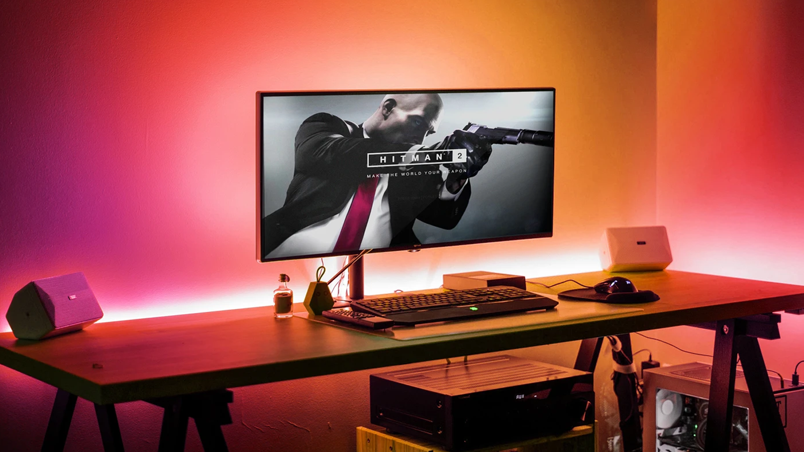 LIFX smart lighting at a gaming desk.