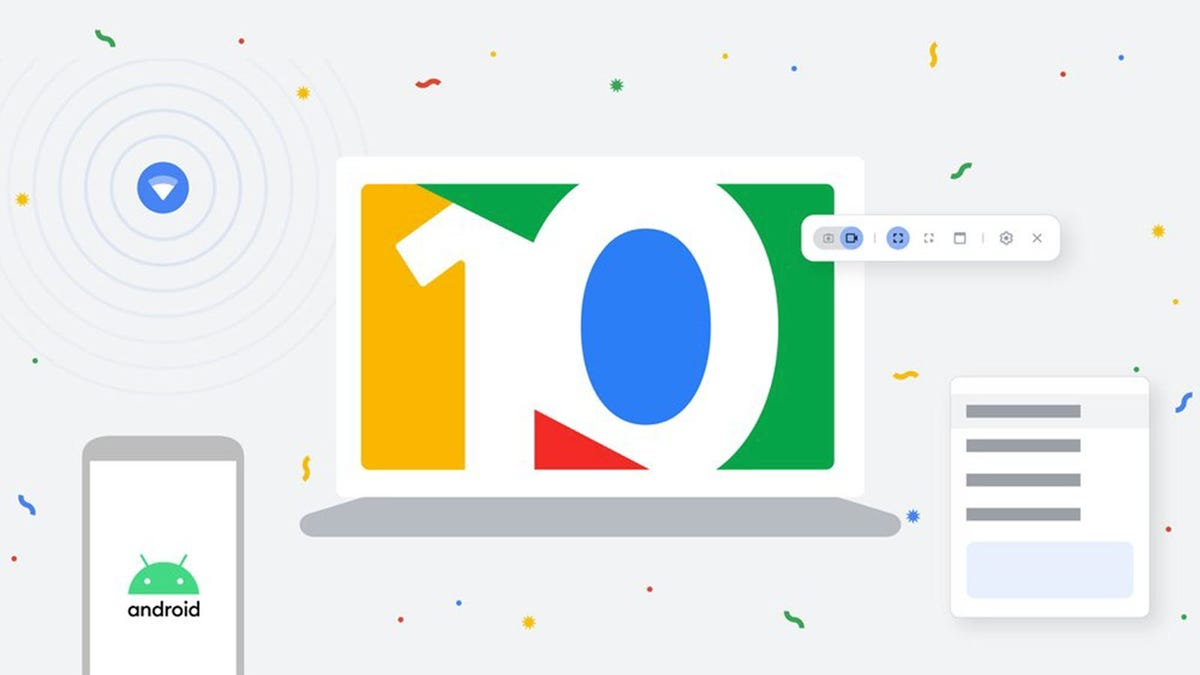 A mockup of a Chromebook with the number 10 in Google colors on the screen.