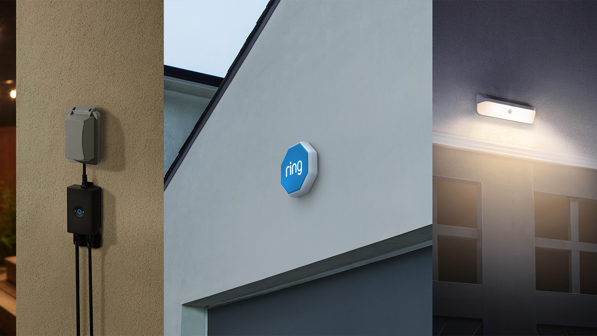 The Ring outdoor smart plug, alarm, and solar light.