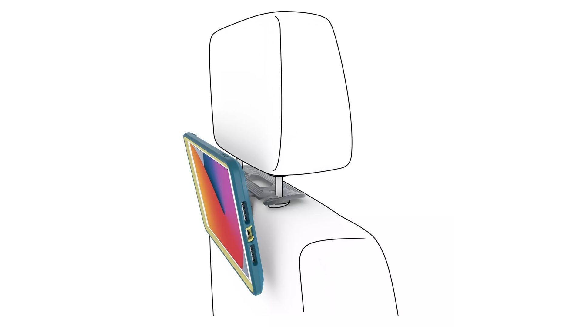 An iPad hanging off a car's headrest.