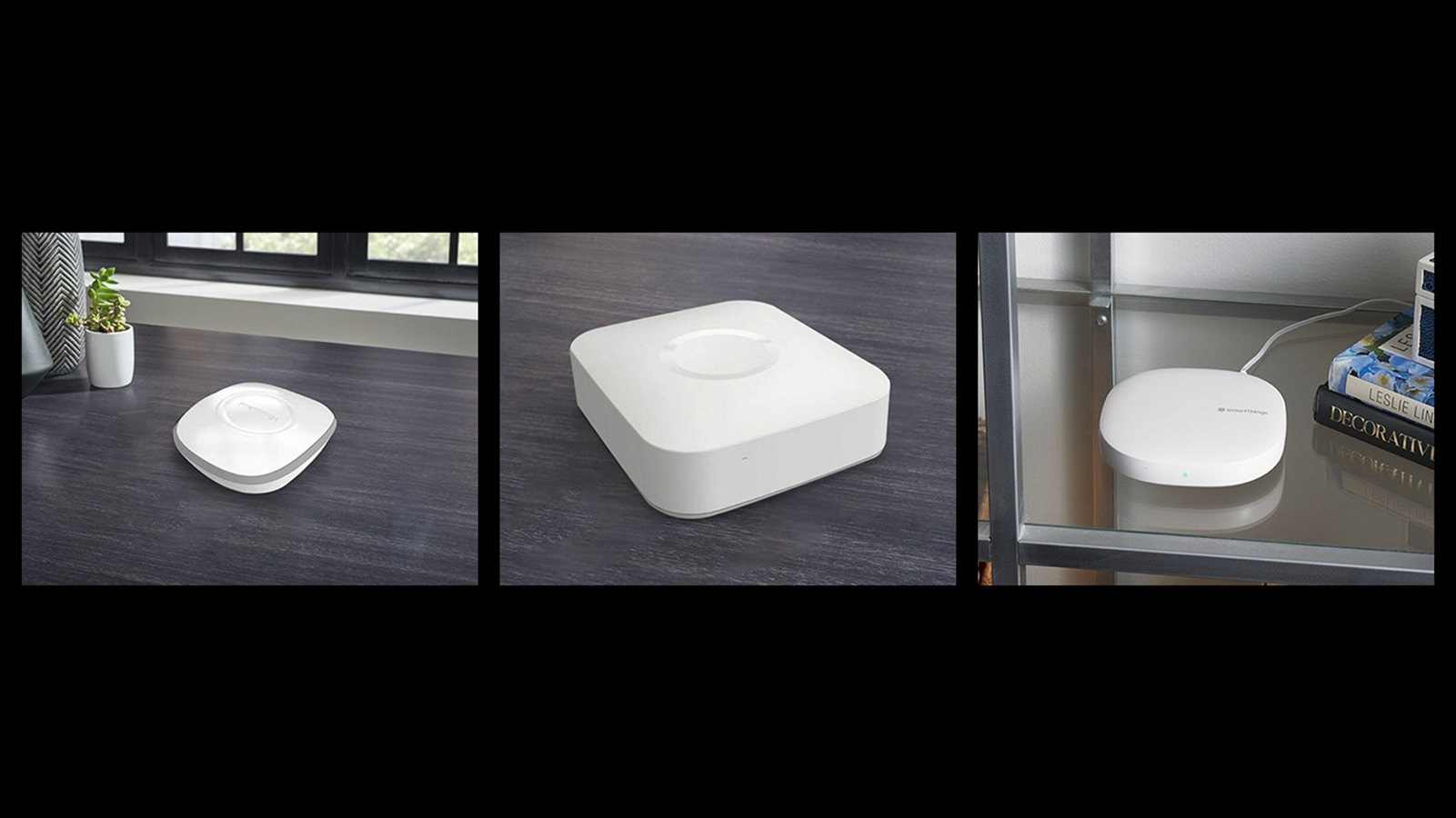 Three Samsung hubs, a first generation on left, second generation in middle, third generation on right.