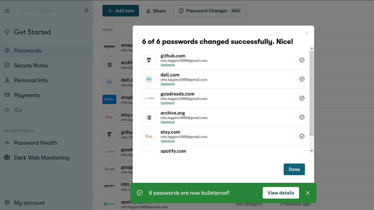 A Dashlane password manager with a notification that 6 passwords were changed.