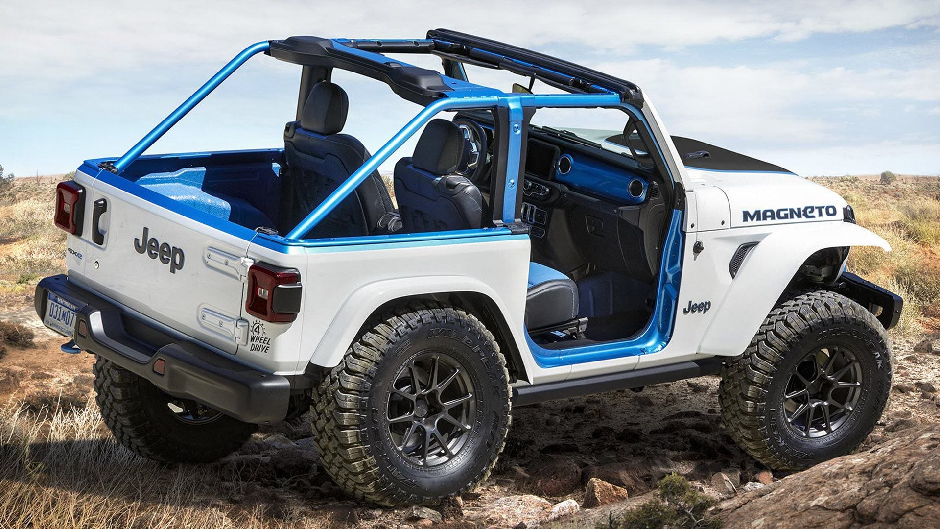 Another view of the Wrangler EV with blue trim styles.