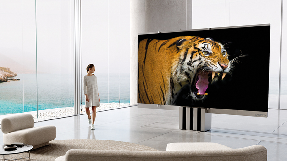 C-Seed 165-inch MicroLED TV in large living room