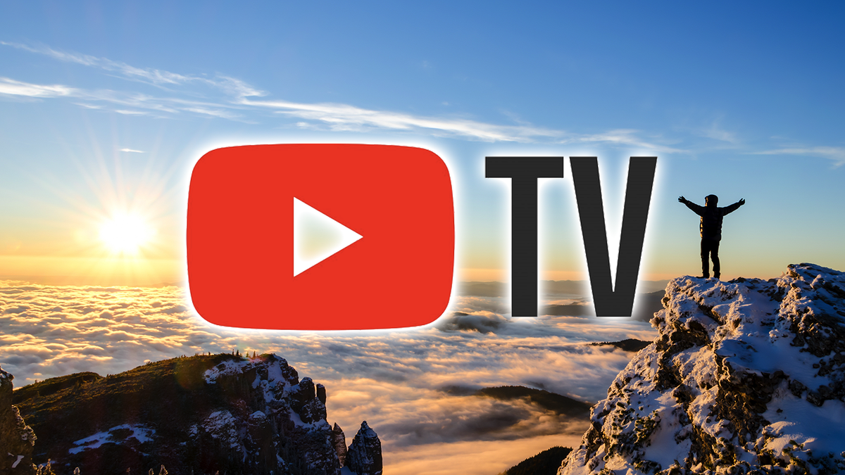 Hiker celebrating success on top of a mountain with the YouTube TV logo superimposed on photo.