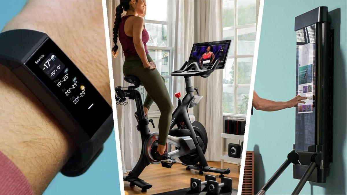 A fitbit inspire 2, peloton bike, and tonal home gym