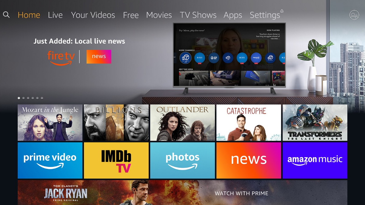 The Fire TV homepage with live local news.
