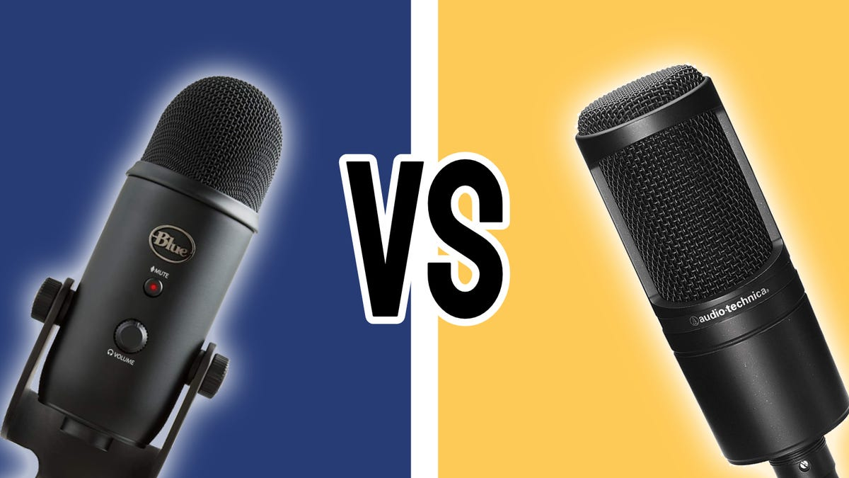 Blue Yeti and Audio-Technica AT2020 against dual-color background