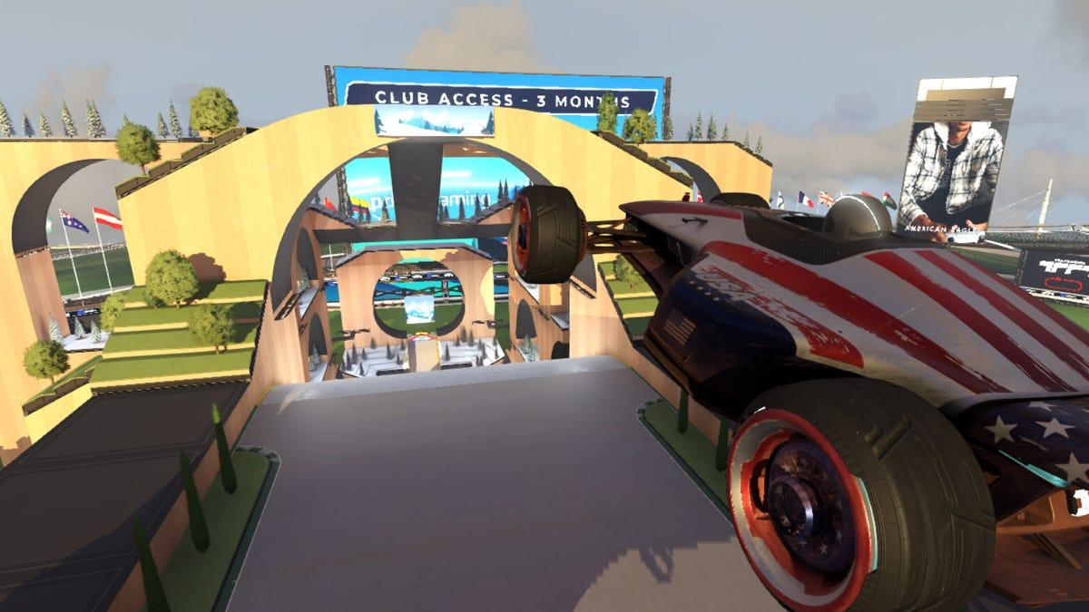 Car jumping through the air in 'Trackmania'