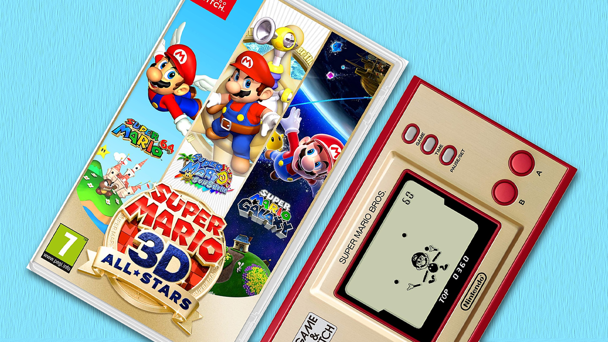 A photo of '3D All-Stars' and the Mario Bros. Game & Watch.