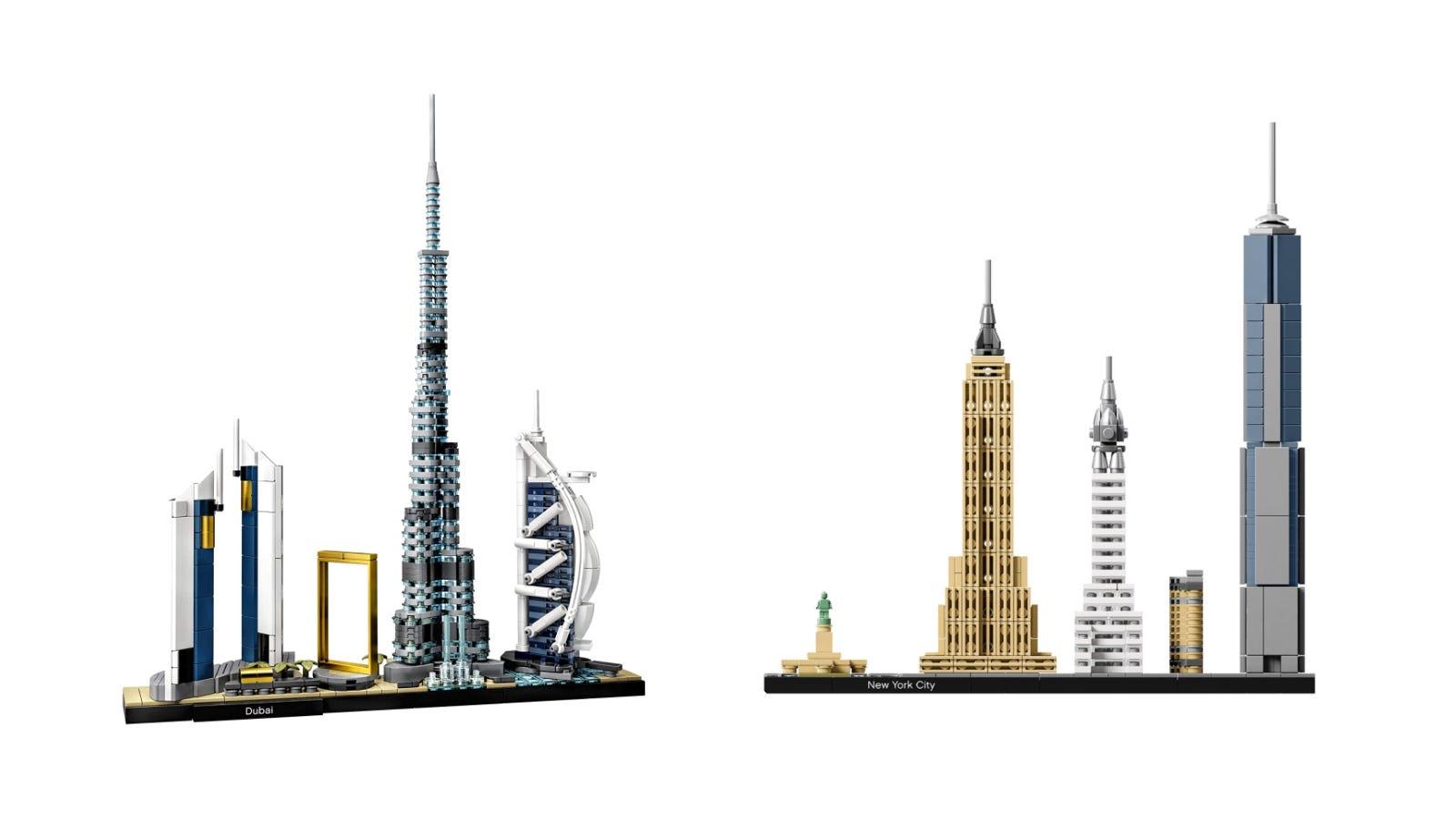 LEGO Architecture Dubai and New York City Skyline Sets