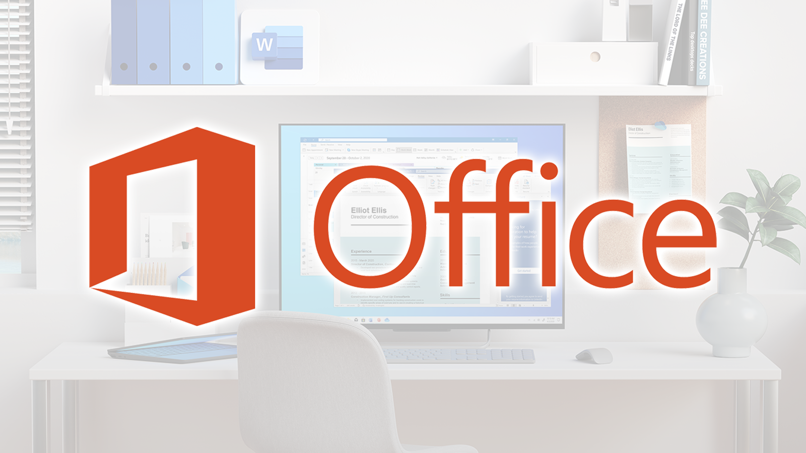 The Microsoft Office logo over an image of a desk.