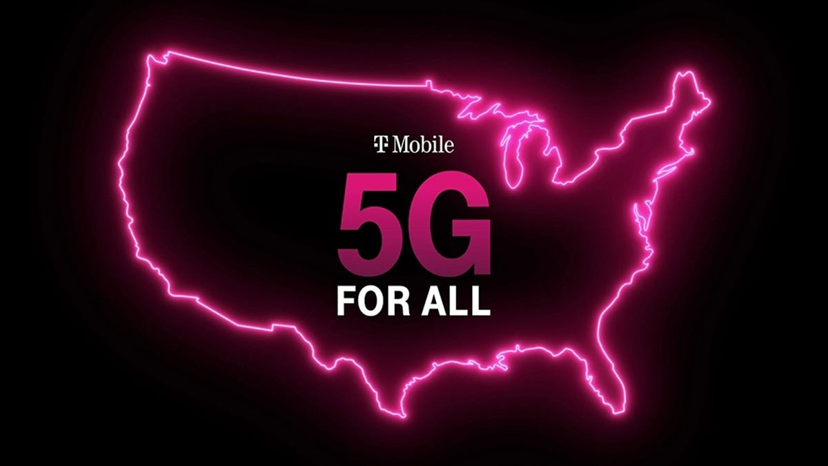 """A Pink Outline of the U.S. with a """"5G for ALL"""" logo"""