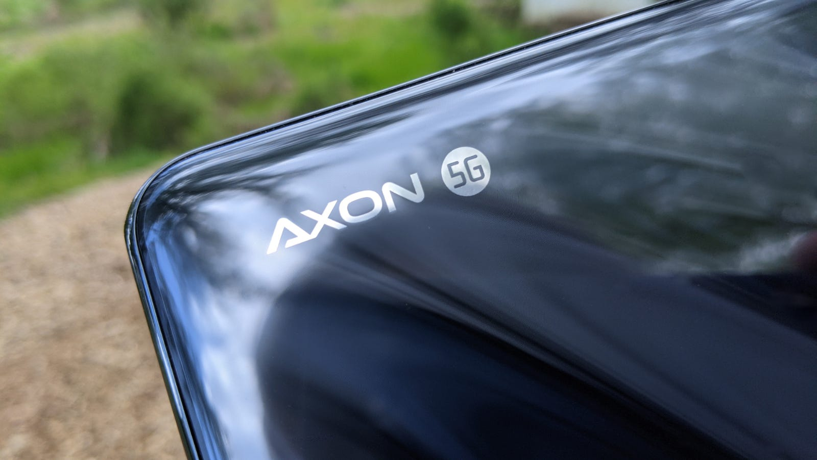 Close-up of the Axon 5G logo on the ZTE Axon 20 5G
