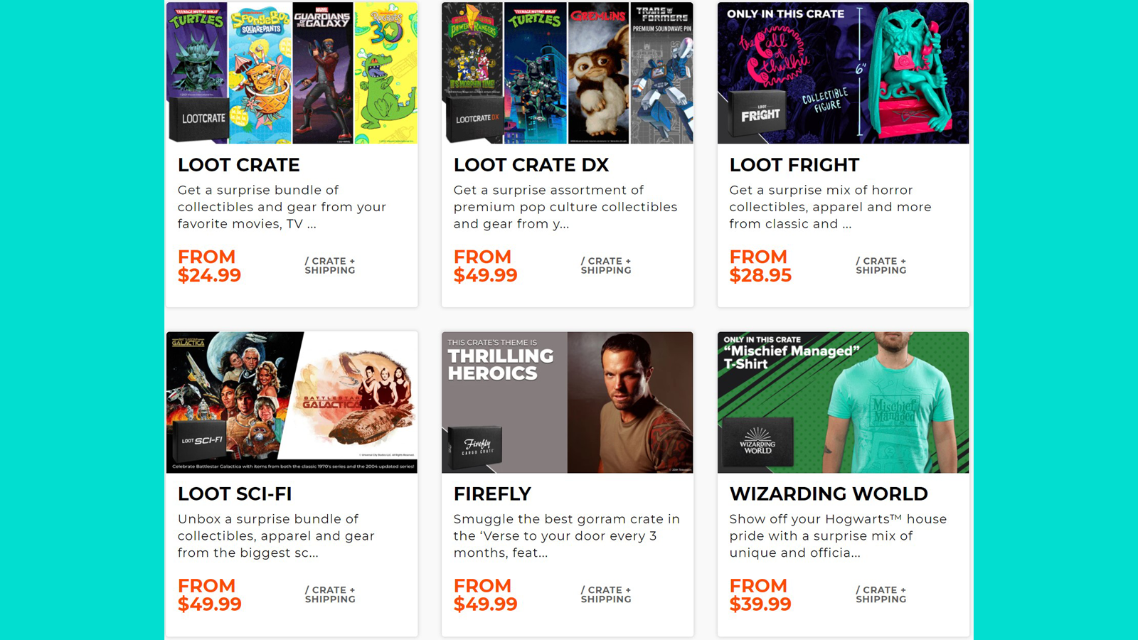 A few of the many monthly box options from Loot Crate