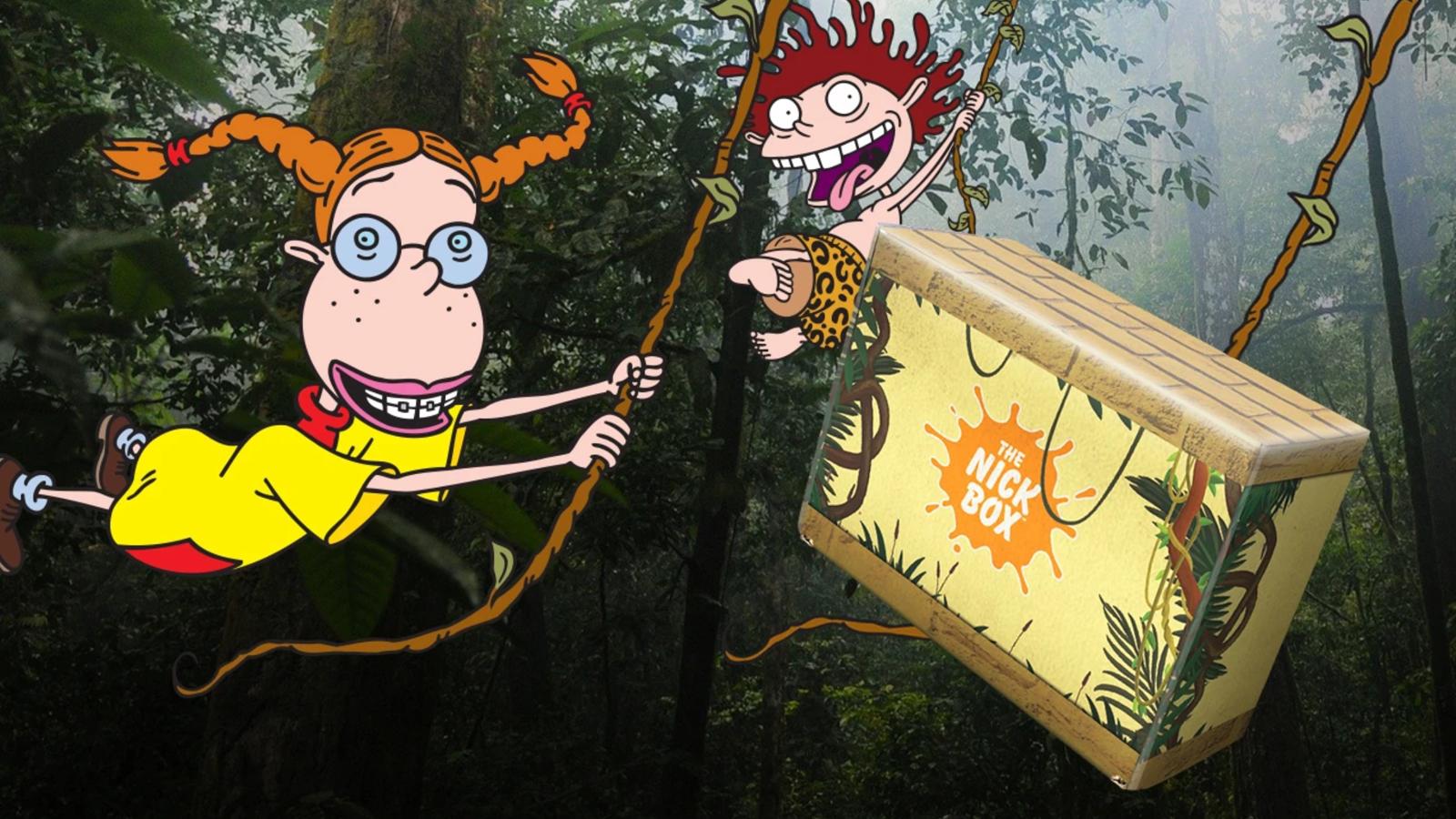 The Nick Box next to popular Nickelodeon characters