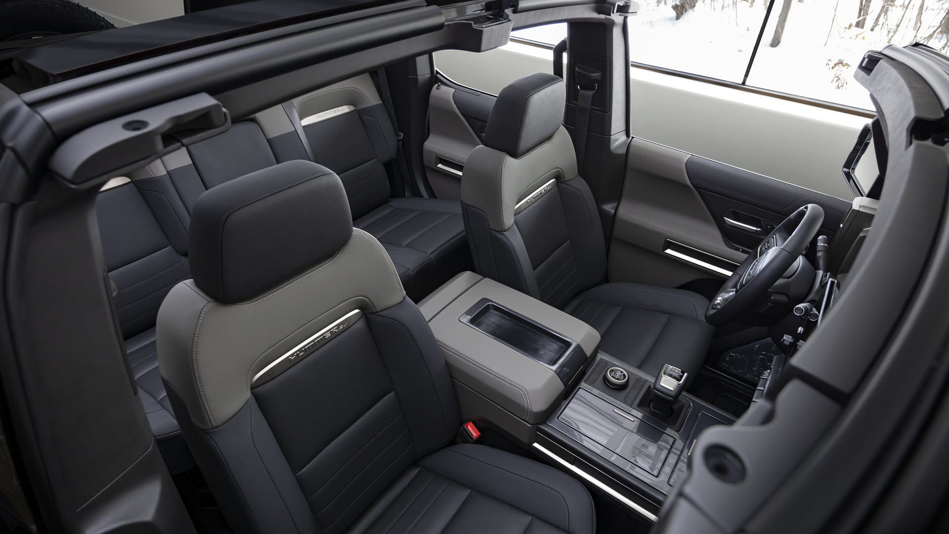 A spacious Hummer interior with fold-out seats