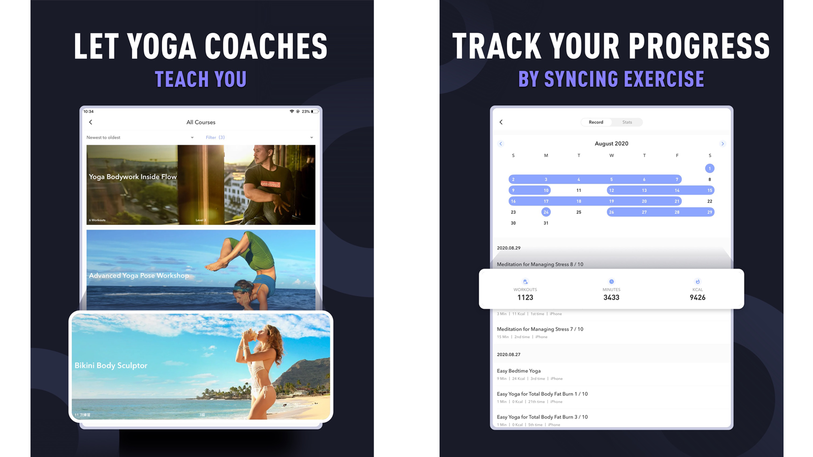 Daily Yoga app featuring multiple courses and coaches, and statistic tracking metrics