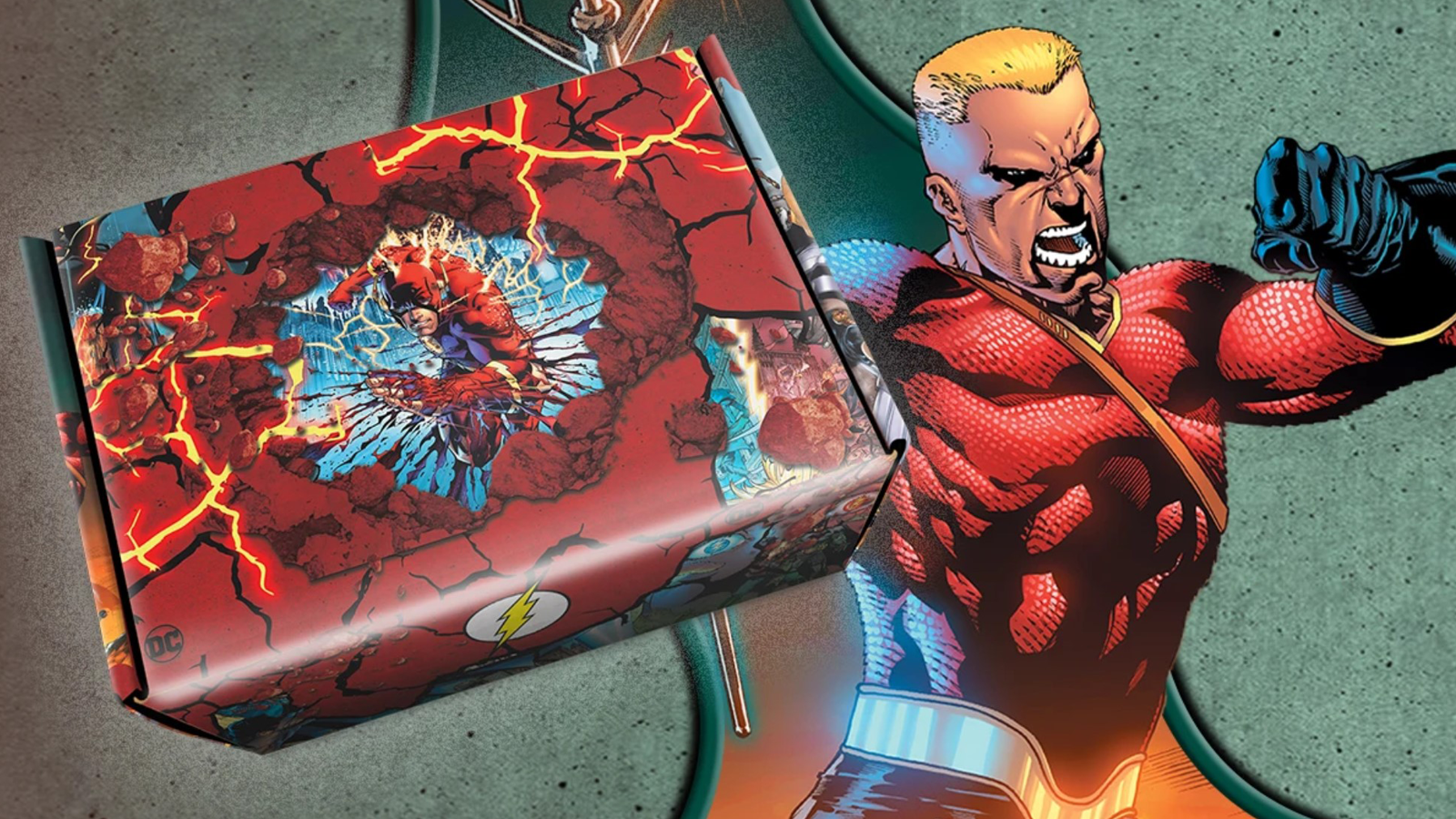The Flash holding up a sample World's Finest Collection box