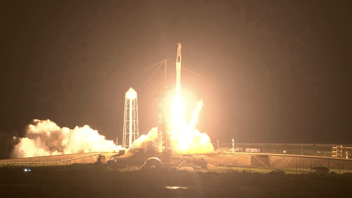 The SpaceX Falcon-9 lifting off at Cape Canavral