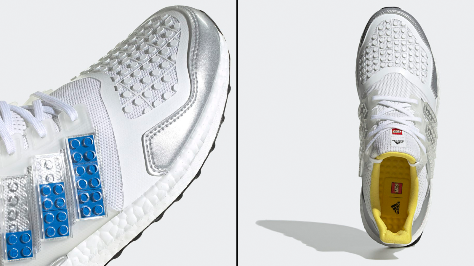 Side and top view of new LEGO x Adidas sneaker