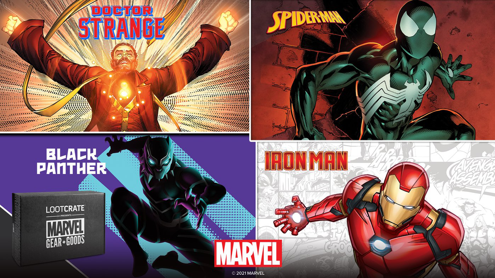Four Marvel characters feature in the Marvel Gear + Goods box