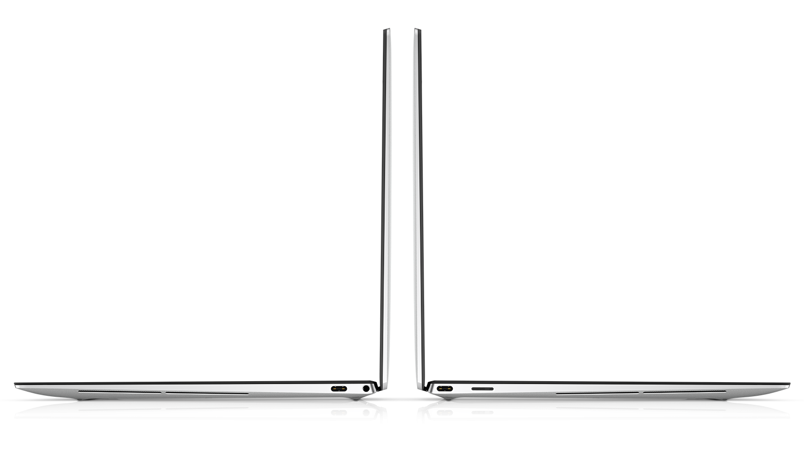 Left-side and right-side view of new Dell XPS 13 laptop, with view of ports and 3.5mm headphone jack