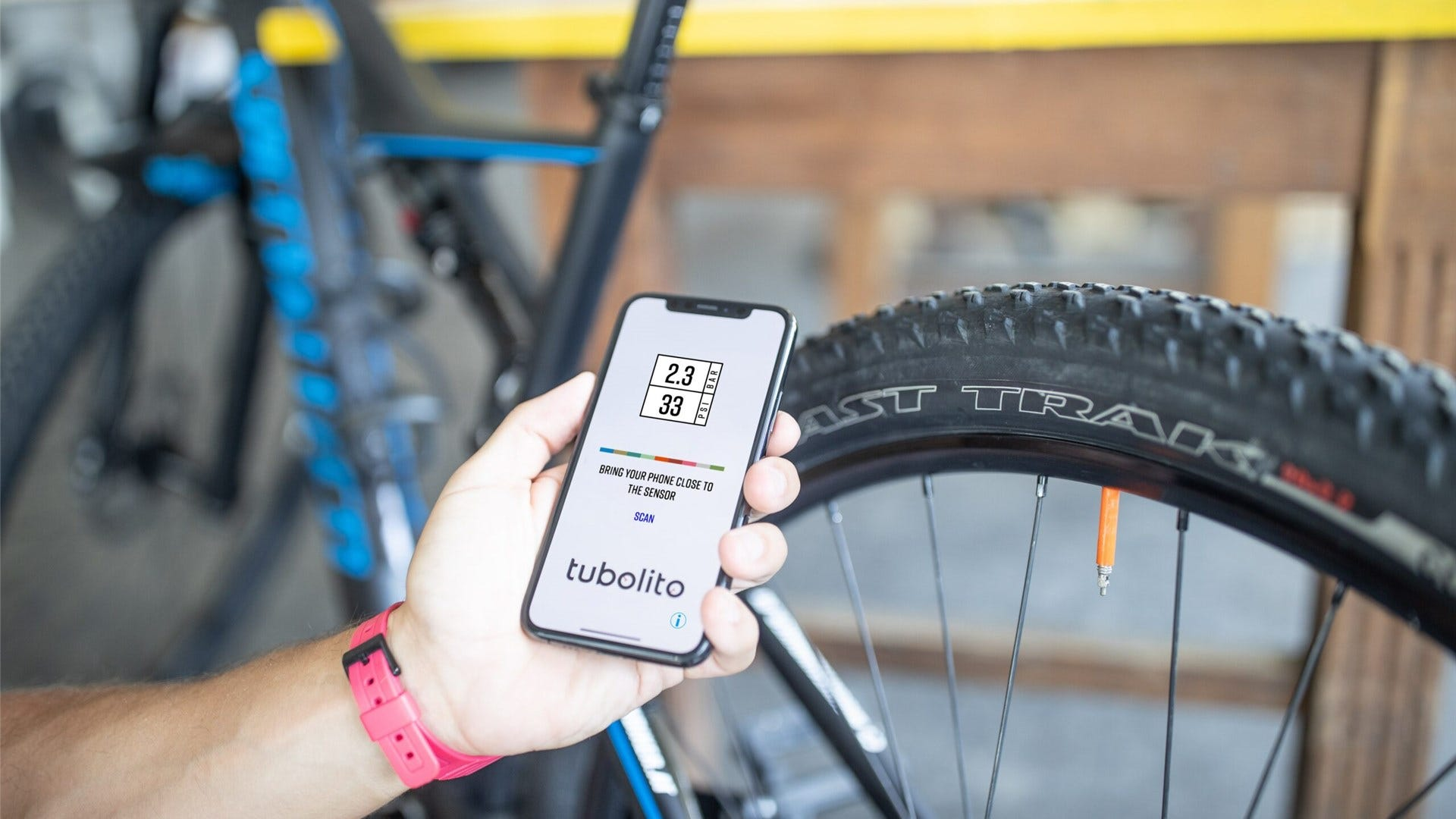 Checking tire pressure on your smart phone.
