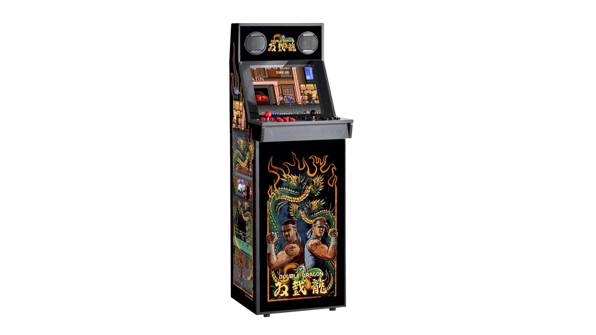 A 'Double Dragon' themed arcade machine.
