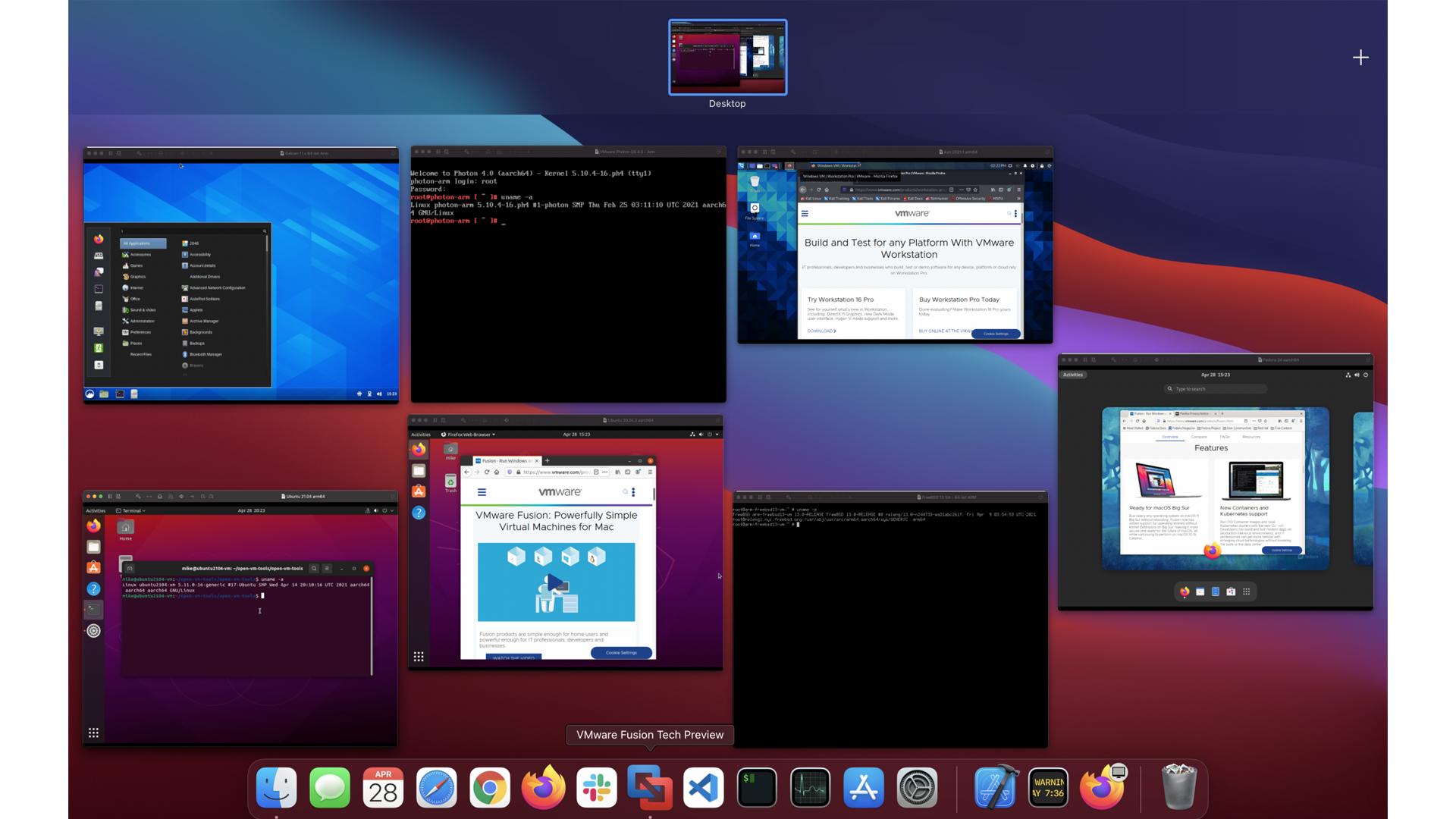 A debug build of VMware Fusion running 7 VMs on an M1 MacBook Air.