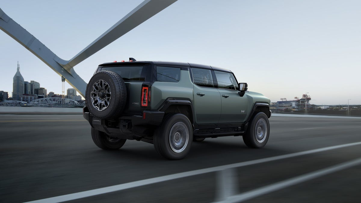 A green Hummer electric SUV