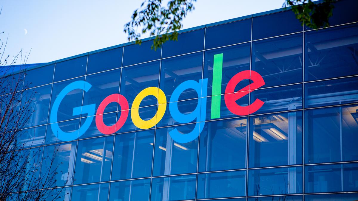 Google logo in Googleplex, main campus in Silicon Valley, California.