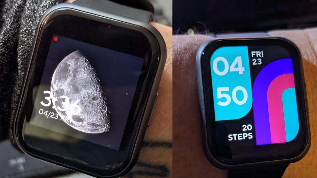 A Wyze 44 mm Watch next to a Wyze 47 MM watch