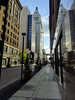 A close shot of a cityscape.
