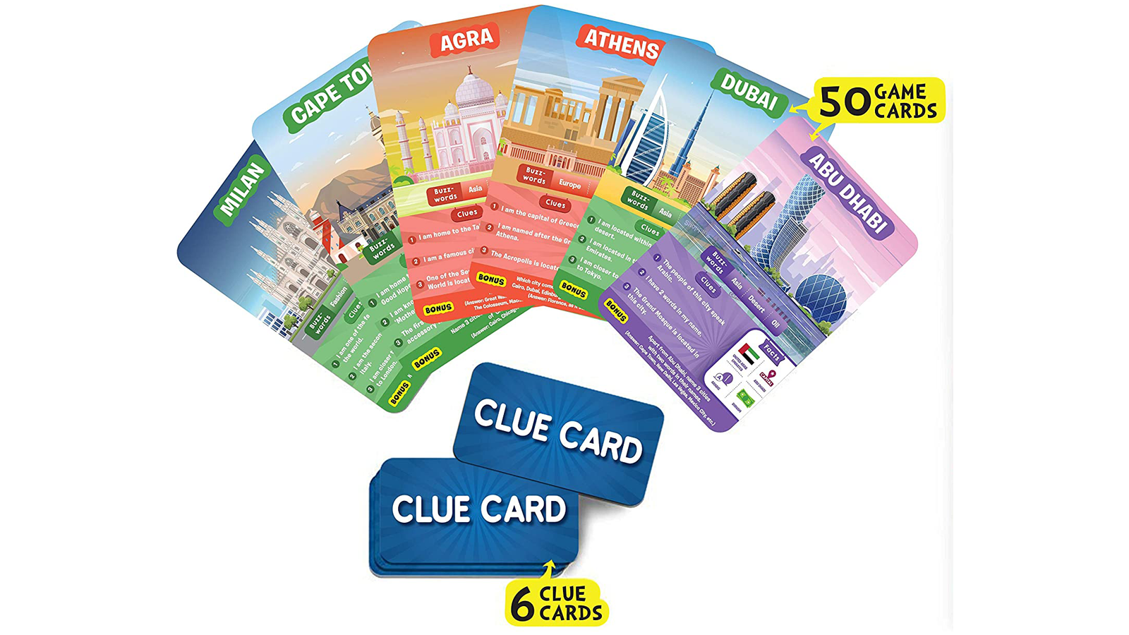 The Game Cards and Clue Cards that come in Guess in 10 - Cities Around the World game