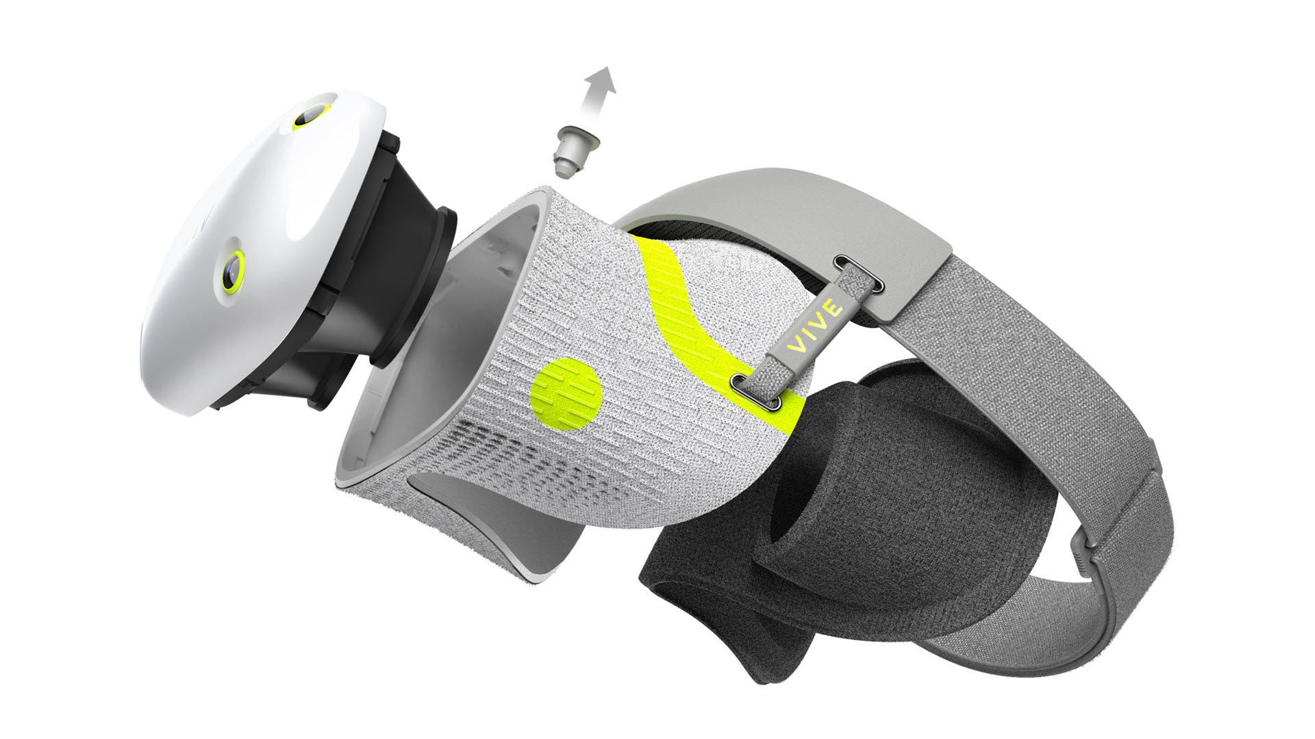 A shoe-material VR headset, with the display face plate removed