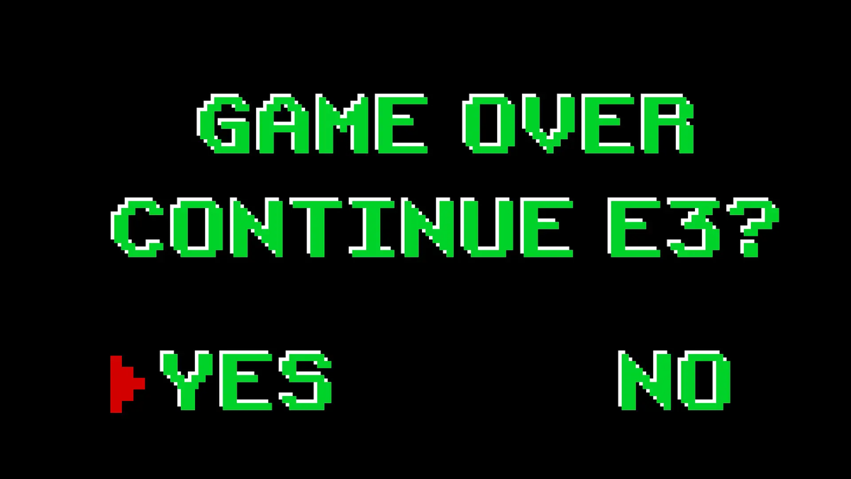 "A ""game over"" screen asking to continue E3."