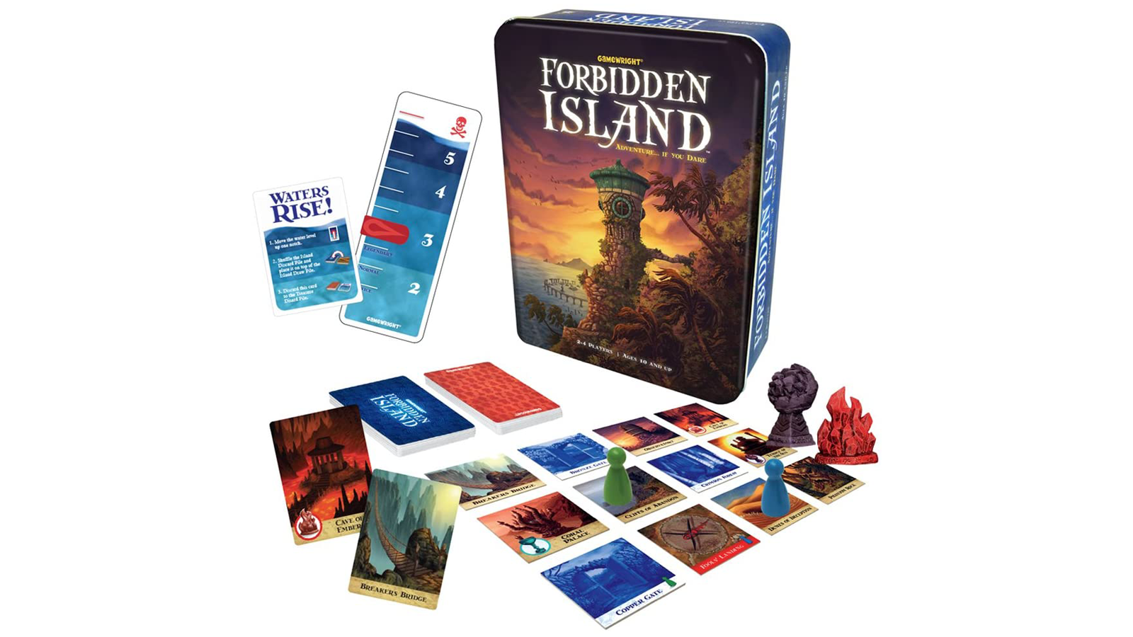 Forbidden Island game box and components