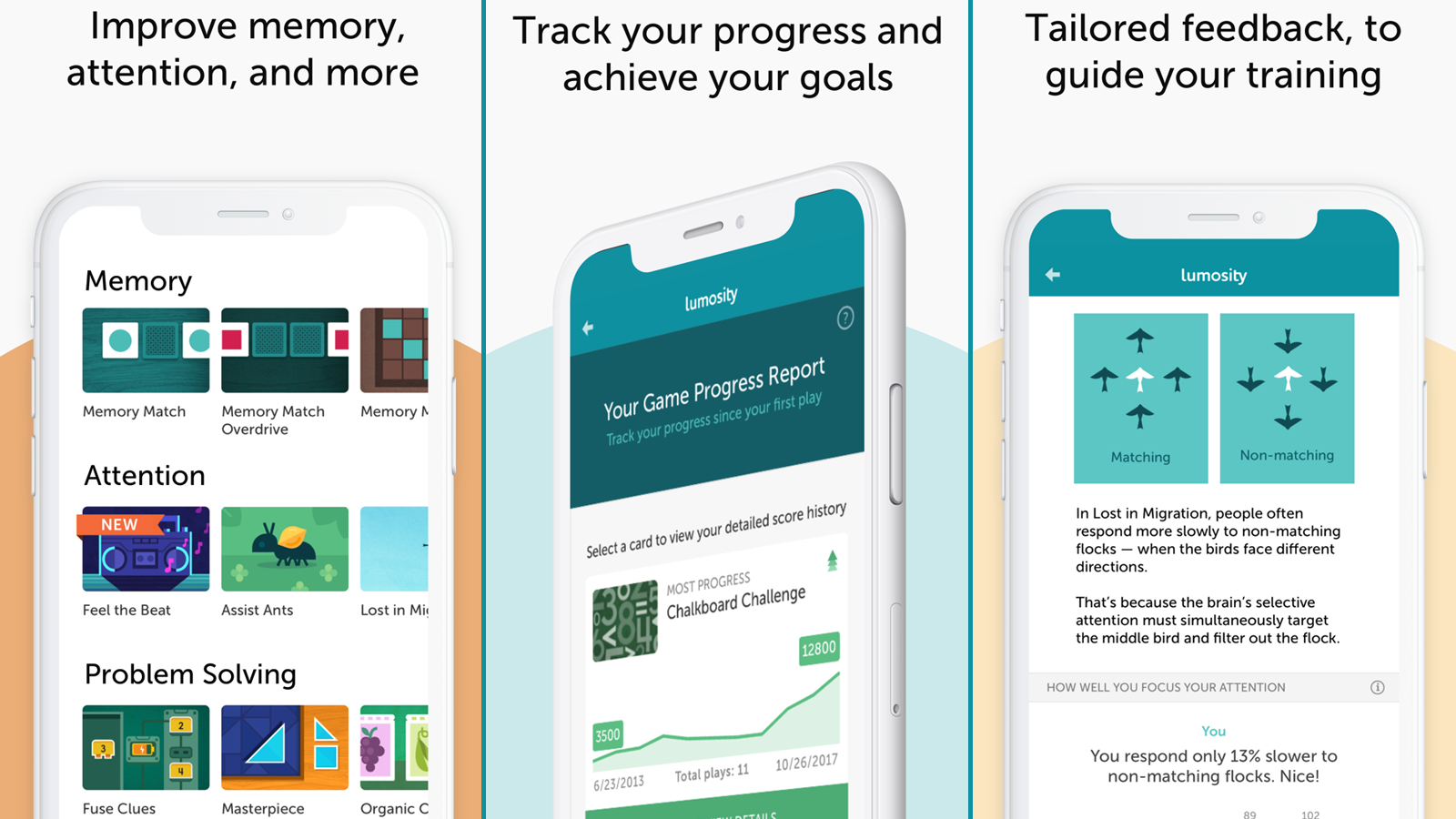 Lumosity app with brain training options and progress tracking features