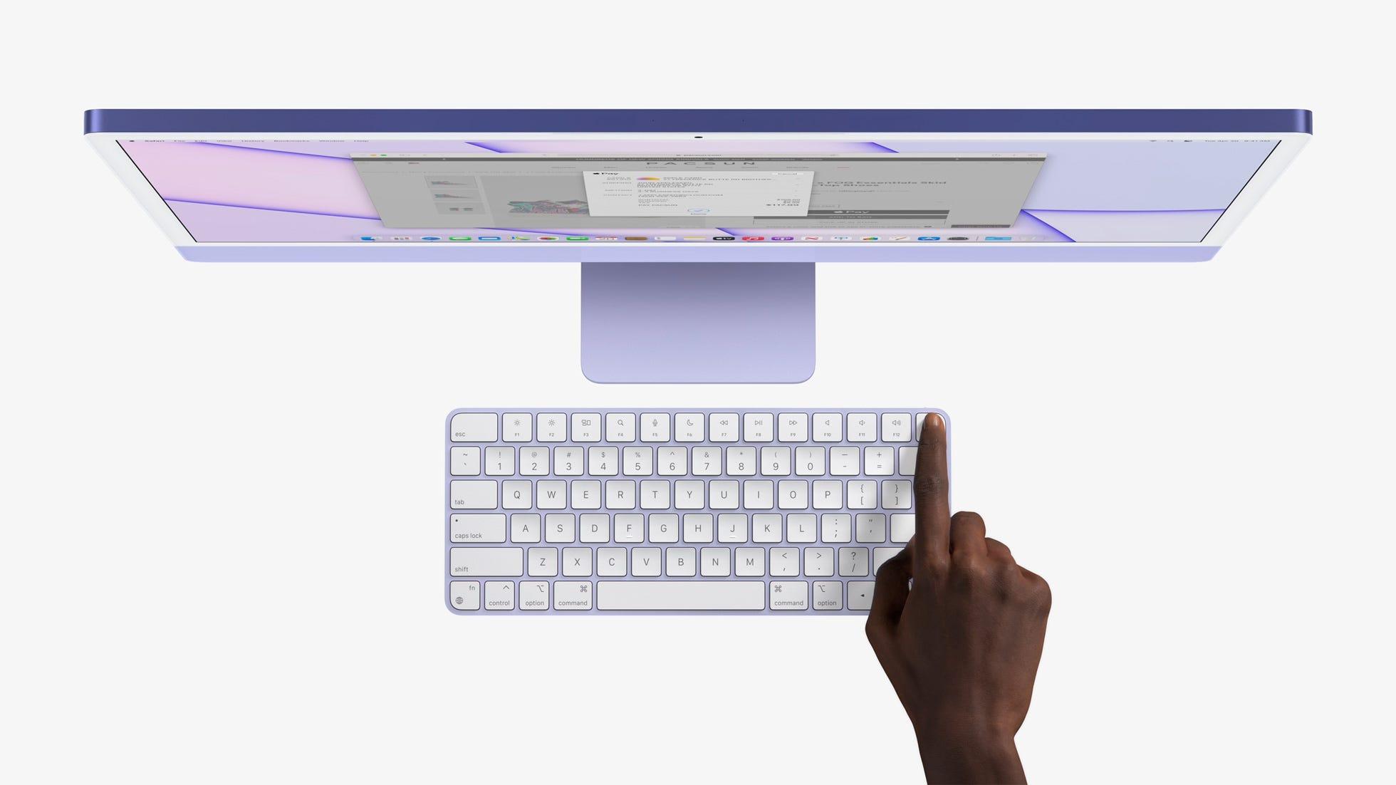 Purple iMac and keyboard