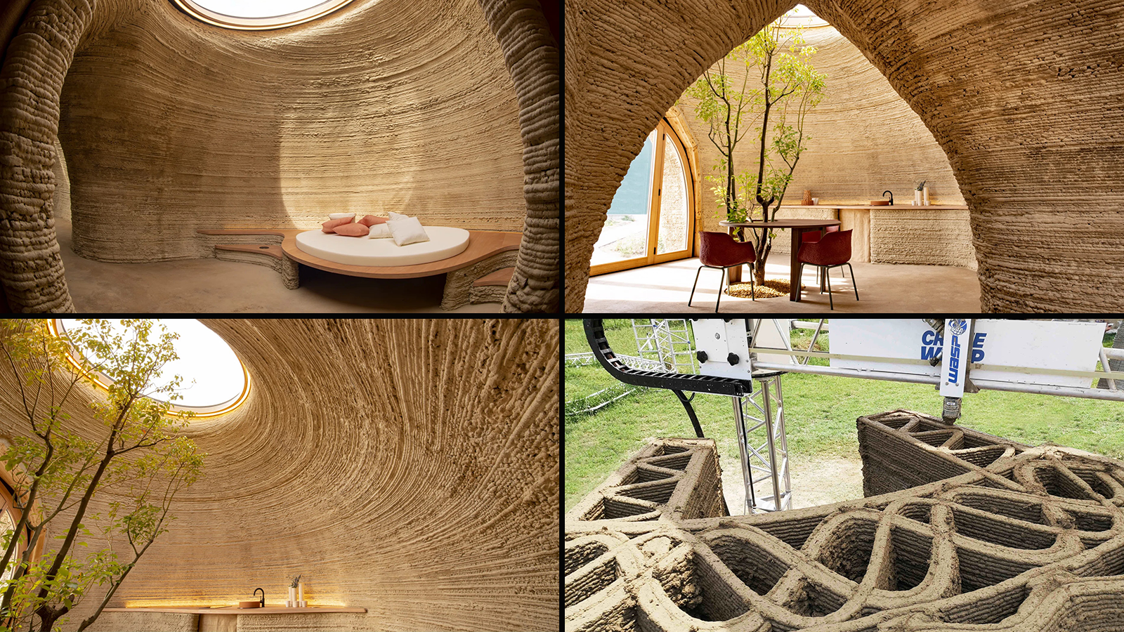 Four views of the 3D-printed home's interior