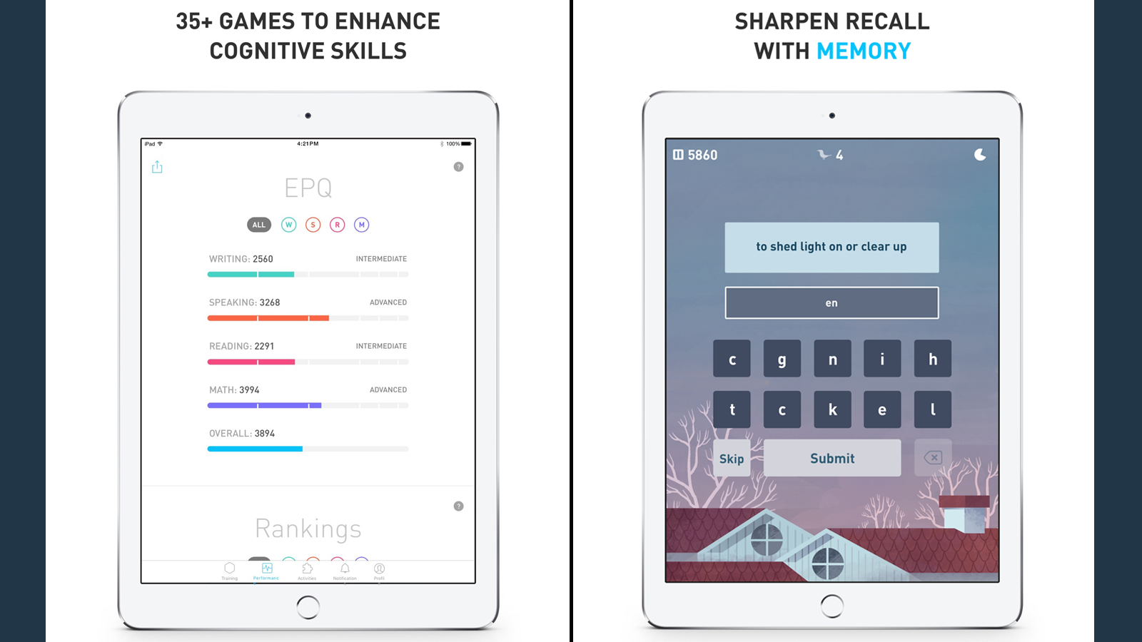 Elevate app with games and scores